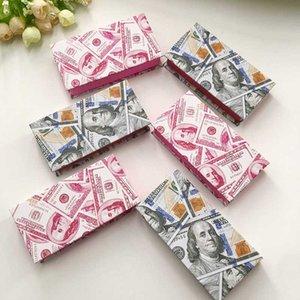 Benutzerdefinierte Geld-Dollar-Lash Box 25mm Dramatisch Mink Wimpern Glitzer-Paket Wimper Box ohne Lashes