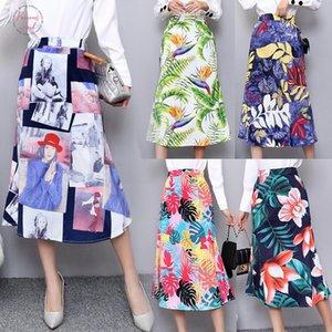 Grils Pencil Women Skirt 2019 New Cartoon A Print High Waist Long Skirts Girl Summer Large Size Japan Female Falda