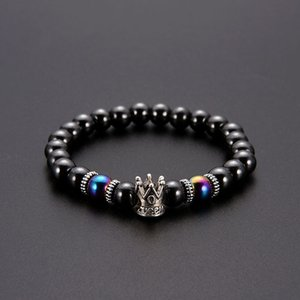 Crown Magnetic Hematite Bracelet Ancient Silver Crown Bracelet Black Hematite Beads Bracelets women mens Fashion Jewelry will and sandy