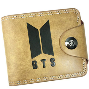 Hasp wallet Bts Bangtan group khaki purse Music snap stud short leather cash note case Money notecase Loose change burse bag Card holders