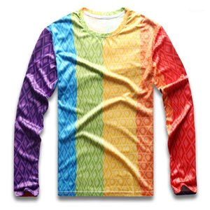 Rainbow Striped T Shirt for Men Colorful Vertical Stripe for Male Gay Pride Round Neck Long Sleeve Quick Dry Boy Autumn Party1