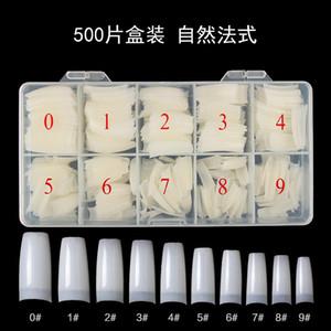 Kutu 500 Akrilik Yanlış Nail İpuçları Şeffaf Beyaz Doğal Renk Fransız Tırnak Tam Kapak Yarım İpuçları Ultra Esnek Boyut 10size Sahte Yapay Çiviler