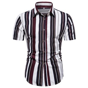 Summer Short Sleeve Striped Print Shirt Men Lapel Neck Loose Button Up Blouse Breathable Streetwear Sexy Shirts Men 2020