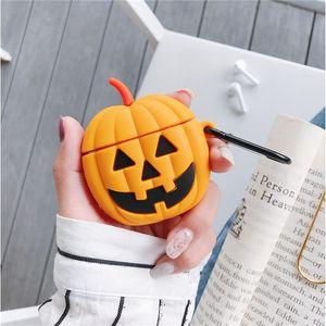 Per Apple AirPod cassa del silicone di zucca di Halloween Jack-O'-Lantern Pouch con il gancio della copertura antiurto per Bluetooth AURICOLARE