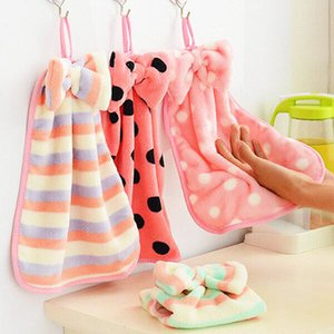 القوس جميلة سميكة من الصوف المرجانية يمكن تعليقه اليد منشفة المطبخ التنشيف القماش منشفة الحمام والمناشف غسيل في الحمام