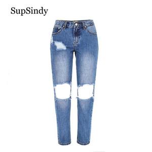 SupSindy jeans pour femmes taille basse jeans droites lâches fashion boyfriend sauvage Slim Ripped Hole pour femmes pantalons pantalons en denim