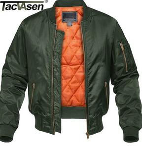 TACVASEN hiver Veste militaire Outwear hommes Coton rembourré Vol MA-1 Bomber Jacket Manteau Vestes Casual Baseball Vestes Varsity