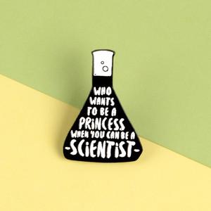 Experimento Científico ewelry Accesorios Broche de cubilete Broche de bolsa de ropa Pin de la solapa la insignia de Ciencia princesa joyería Gif ...