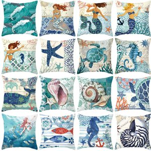 Mermaid Peach Skin Pillow Case Sea Life Starfish Conch Sea Horse Polpo Cuscino Camera da letto Home Hotel Morbido Federa