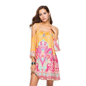 Donne Beach Sling Dress Abbigliamento donna Beach Abiti da festa Plus Size Gonna senza maniche stampato Spaghetti Low Back Dress 43