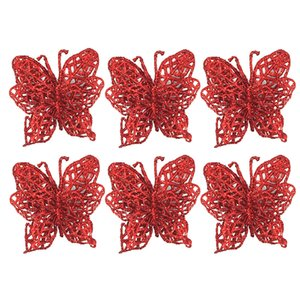 6Pcs Christmas Tree decorations Christmas Simulation Butterfly Xmas hanging Ornaments Christmas decorations for home navidad