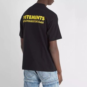 mens Vetements yellow Logo Printed Tee Vintage Solid Color Short Sleeves Men Women Summer Casual Hip Hop Street Skateboard T-shirt