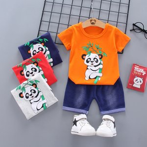 Summer new male baby cute cartoon panda middle and small children round neck shirt printed short sleeve two-piece suit