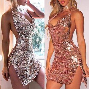 Повседневные платья Deep V-образные вырезы осенью розовое золото блестение спинки сексуальное платье женщин с плечо мини-сплитский клуб Party Club Vestidos