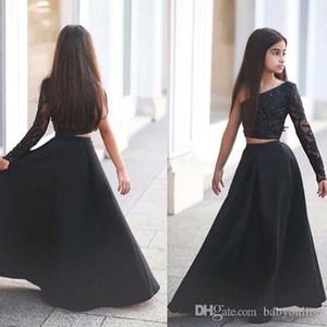 Arapça Dedi Mhamad Siyah Bir Omuz Uzun Kollu Çocuklar Gelinlik Modelleri A Hattı İki Adet Boncuklu Çiçek Kız Elbiseler BA1435