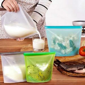 Riutilizzabile Vacuum Sealer cibo Borse silicone alimentare contenitore di immagazzinaggio Frigorifero Bag cucina colorata Ziplock Borse conservazione fresca Container