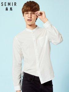 Camisa de cuello alto para hombre de SEMIR Camisa de ajuste regular de los hombres Camisa casual de manga larga en 100% algodón Vestido sin cuello Sólido