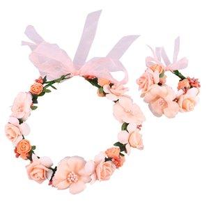 1pc Brautkranz Mode Süße Fabrics Blumen-Girlande-Kranz-Hochzeit Stirnband für Bridesmaid Bride Lady