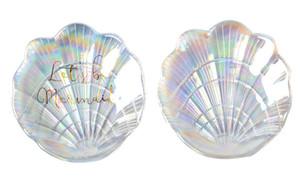 Русалка Shell Стеклянная пластина Dish Малый Причудливые ювелирные изделия хранения Tray Кольцо Аксессуар Dish Свадебные украшения подарков для искусства ногтя