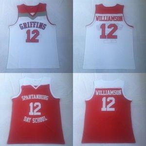 # 12 Zion Williamson Spartanburg Griffins Day High School صهيون ويليامسون كلية كرة السلة جيرسي سريع شحن مجاني للرجال