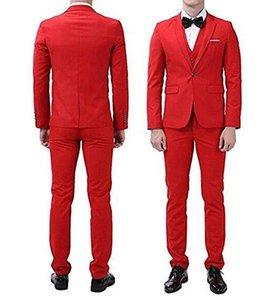 Смокинги Красного Жениха Красивый Отворот Отворот Slim Fit Мужчины Свадьба Groomsmen Назад Vent One Button 3 шт. Костюмы (Куртка + Брюки + Жилет) WH155