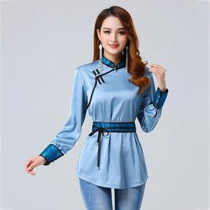 soie chemise de femmes mongoles Tang costume de style haut col stand élégant vêtements ethniques printemps la vie quotidienne Costumes d'habillement classique asie