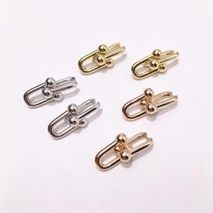 2019 classic hot fashion titanium steel love earrings jewelry T letter chain 2 section U-shaped chain earrings for women