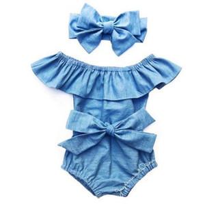 Mode Bébé barboteuses Bébés filles Robe feuille de Lotus collier sans bretelles barboteuses Enfants Casual Solid Color combis avec Bandeau Vente chaude