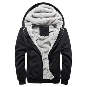 코트 톱 4 색 착실히 보내다 남성 후드 코트 겨울 따뜻한 양털 지퍼 스웨터 재킷 아시아 크기 M-5XL
