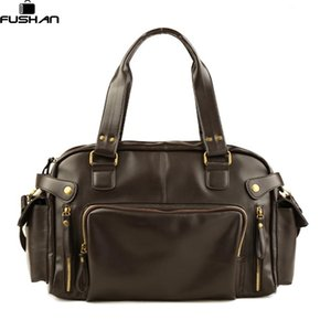 Wholesale- New Fashion Multifunction Mens PU leather Travel Bags Waterproof Vintage men messenger bags high quality shoulder bags
