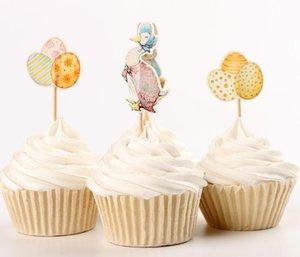 Easter Cake Topper Conejo Pato Huevos Impreso Cupcake Topper Tema de Pascua Fiesta Decoración Del Hogar 24 Unids / pack