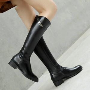 النساء أزياء الخريف الشتاء الركبة أحذية عالية الكعب مريح منخفضة جولة تو النساء أحذية السيدات الإبزيم زيبر حذاء أسود أبيض أخضر