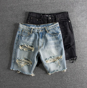 Mens Fashion Jeans Washed Vintaged Splashed Ink Big Hole Mens Denim Shorts with 2 Colors Asian Size S-2XL