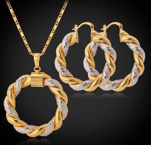 Two Tone Design ожерелье серьги Платина / 18K Real Позолоченные Модный круглый ожерелье серьги комплект ювелирных изделий Женщины Идеальный подарок WL1146