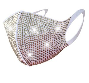 Bling rhinestone face mask fashion crystal diamond sparkle reusable cloth face mouth cover teenager adult nightclub party personality wear