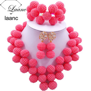 Laanc Latest Coral Color Nigerian Beads Jewelry Set Women African Beads Necklace Bridal Wedding Jewelry Sets JXZ011