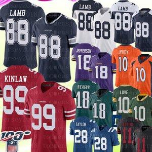 2020 DallasCowboy 49er 88 CeeDee Cordeiro JerseyJavon Kinlaw 99 perseguição Jovem 18 Justin Jefferson Jerry Jeudy 28 Jonathan Taylor Aiyuk L
