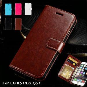 Caso del patrón de caballo loco tarjeta de cartera tipo de negocio del teléfono móvil para la manga protectora del teléfono móvil de soporte de LG Q51