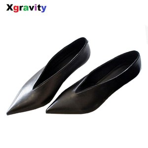 XGRAVITY European American Pop Star Pointed Toe Thin Heel Woman Shoes Deep V Design Lady Fashion Shoes Elegant Women Shoe C264