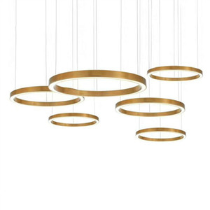 2019 yüzük tasarımı modern LED avize lamba paslanmaz çelik altın avize oturma aydınlatma ve projeler ışıkları