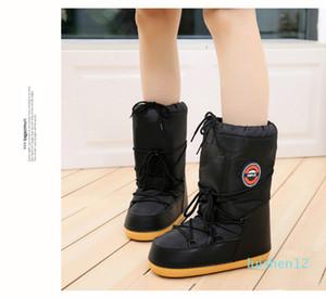 SWONCO zapatos caliente botas de nieve Invierno de la mujer Plataforma Luna Botas Espacio Mujer 2019 Cálido invierno de terciopelo de piel botas del tobillo snowboots l12