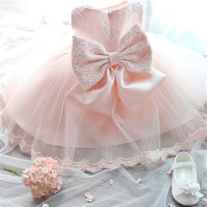 Highqualit розовый белый кружева новорожденного платье Крещение / Крещение платья с Милый лук малыши девушка 1-й 2-й день рождения бальное платье