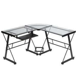 Mobília de vidro em forma de L da escrita do escritório da mesa do computador com bandeja do teclado