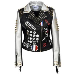S için XXL 3XL PU Deri Ceket Kadınlar Harf Baskı Graffiti Perçinler Coats Punk Biker Saçaklı Motosiklet Cazadora Cuero Mujer