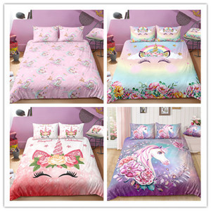 Unicorn and flowers cartoon cute duvet cover set with pillowcases for kids