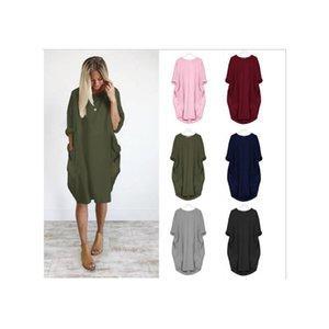 Pocket Casual de Loose Women à manches longues de couleur unie ronde impression cou Dyeing Pigmentation Jumper Location Midi Robe