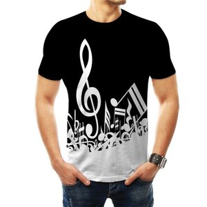 Free shipping Hot Selling New 3d Digital Print Music Scale Music Note Loose Round Neck Short Sleeve Men and Women Music Lovers T-shirt