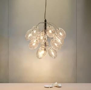 Bulb Post Modern criativa Sala de Jantar Vidro LED G4 pingente luminária Norbic Home Deco Ouro Ferro Grape luminária LLFA