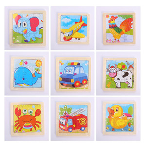 20 adet tekrar etmeyen 11 * 11cm Çocuklar Oyuncak Ahşap Çocuk Bebek Karikatür Hayvan / Trafik Bulmacalar Eğitim Oyuncak Ahşap 3D Puzzle Jigsaw Puzzle