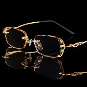 Роскошные Rhinestone Reading Glasses Женщины Алмазные отрезные очки без оправы Мужчины Женщины Золотой Читатели дальнозоркостью Eye Glasses C19042001